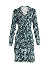 Diane Von Furstenberg New Jeanne Two Dress Blue Multi
