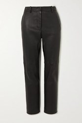Joseph Coleman Leather Slim Fit Pants Black