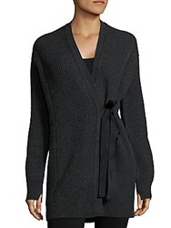 Helmut Lang Textured Wool Blend Cardigan Charcoal