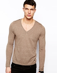 Dkny V Neck Jumper Brown