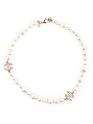 Chanel Vintage Faux Pearl Logo Necklace White