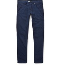 Incotex Slim Fit Cotton Seersucker Trousers Navy
