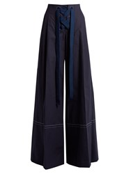 Sonia Rykiel High Rise Cotton Wide Leg Trousers Navy