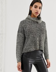 Lipsy Tinsel Cowl Neck Sweater In Black Black