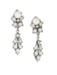 Erickson Beamon I Do Long Faux Pearl And Crystal Drop Earrings Silver White