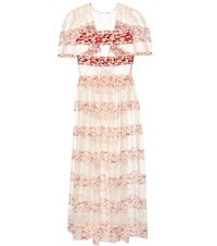 Etro Embroidered Lace And Printed Silk Dress Neutrals