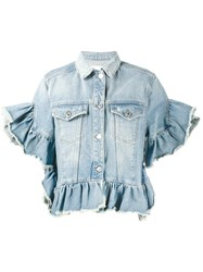 Msgm Ruffle Trimmed Denim Jacket Blue