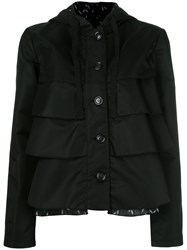 Emporio Armani Ruffled Hooded Jacket Black