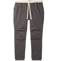 Beams Plus Slim Fit Tapered Cotton Blend Twill Drawstring Trousers Gray