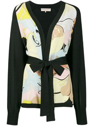 Emilio Pucci Floral Panel Belted Cardigan Black