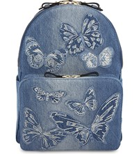 Valentino Butterfly Denim Backpack Denim Light