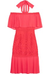 Temperley London Berry Off The Shoulder Chiffon And Guipure Lace Dress Coral