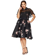Unique Vintage Plus Size Luna Swing Dress Mesh Capelet Black Floral Multi
