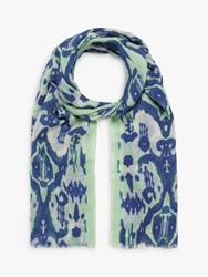Brora Brushstroke Wool Stole Chambray Fennel
