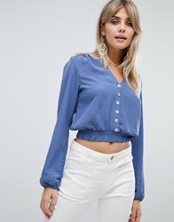 Love Long Sleeve Cropped Top With Button Front Detail Blue