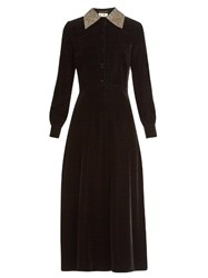 Saint Laurent Embellished Collar Velvet Midi Dress Black