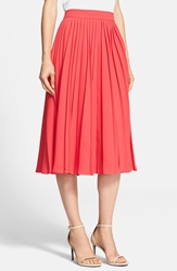 Kate Spade Pleated Crepe Midi Skirt Aladdin Pink