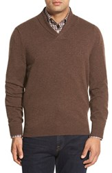Men's Big And Tall Nordstrom Shawl Collar Cashmere Pullover Brown Bean Heather
