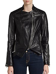 Dawn Levy Quin Leather Moto Jacket Black