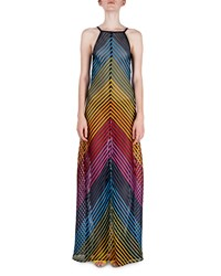 Mary Katrantzou Rainbow Tape Open Back Halter Gown