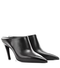 Balenciaga Pointy Pump Leather Mules Black