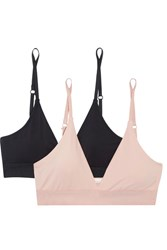 Skin Hadlee Set Of Two Stretch Organic Pima Cotton Jersey Soft Cup Bras Blush