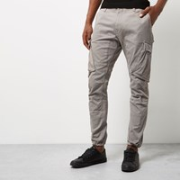 River Island Mens Grey Cargo Tapered Joggers