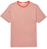 Sunspel Slim Fit Striped Cotton Jersey T Shirt Orange