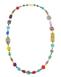 Jose And Maria Barrera Long Bright Decoupage Cloisonne Necklace Multi
