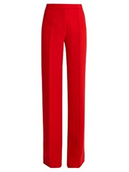 Marco De Vincenzo Wide Leg Wool Crepe Trousers Red