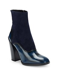 Jil Sander Mixed Leather Block Heel Booties Navy