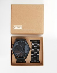 Asos Oversized Watch In Monochrome With Interchangeable Strap Multi
