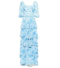 Costarellos Floral Chiffon Gown Blue