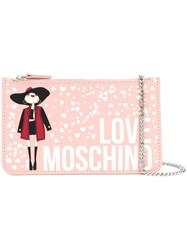 Love Moschino Printed Chain Wallet Pink