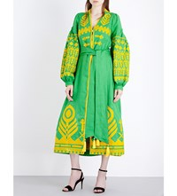 Yuliya Magdych Cupidon Embroidered Linen Dress Green Yellow
