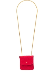 Chanel Vintage Pouch Pendant Necklace Red