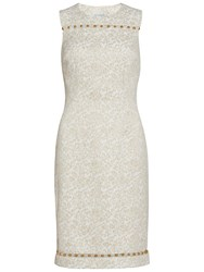 Gina Bacconi Jacquard Dress With Trim Gold
