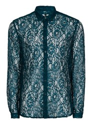 Topman Blue Teal Lace Casual Shirt