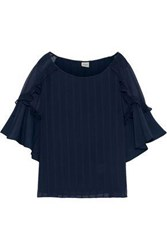 Charli Woman Georgette Paneled Ruffled Jacquard Blouse Navy