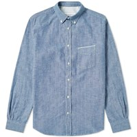 Officine Generale Button Down Japanese Chambray Selvedge Shirt Blue