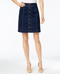 Charter Club Button Front Denim Skirt Only At Macy's Greenwich Wash