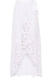 Miguelina Valencia Crocheted Cotton Lace Wrap Maxi Skirt White