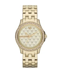 Armani Exchange Ladies Hampton 3 Hand Watch Gold