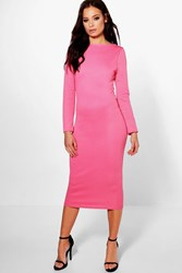 Boohoo Rib Bodycon Dress Coral