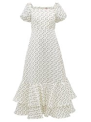 Shrimps Eve Polka Dot Linen Blend Faille Dress Ivory