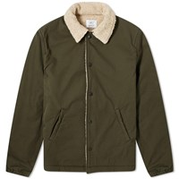 Save Khaki Sherpa Lined Warm Up Jacket Green