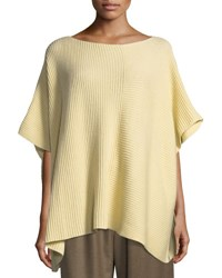 Eskandar Ribbed Knit Square Caftan Yellow