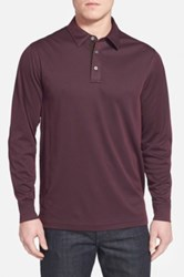 John W. Nordstrom Long Sleeve Pique Polo With Faux Suede Trim Purple