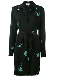 Diane Von Furstenberg Bird Print Shirt Dress Black