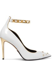 Balmain Embellished Metallic Trimmed Leather Pumps Off White